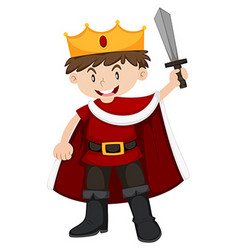 Kid in king costume with sword vector