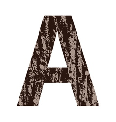 Letter a made from oak bark vector
