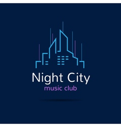 Night city logo city skyline logotype vector image vector image