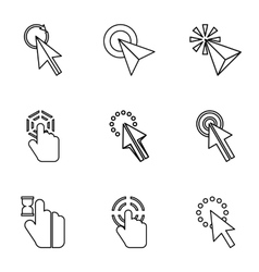 Pointer icons set outline style vector image