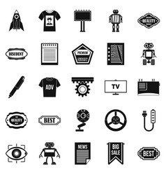 press room icons set simple style vector image vector image