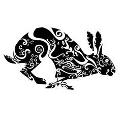 Rabbit hare black white black-white zentagle vector