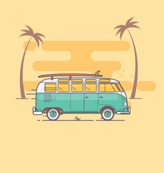 Retro bus with surf boards on summer vector