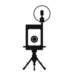 Retro camera black icon vector