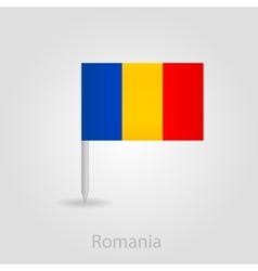 Romanian flag pin map icon vector