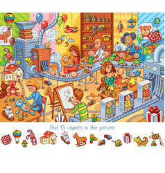 toy factory find 15 objects in the picture vector image