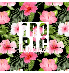 Tropical palm tropical flowers exotic floral vector