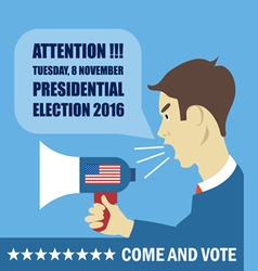Usa 2016 election card with a character with megap vector image