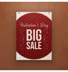 Valentines day big sale hanging red poster vector