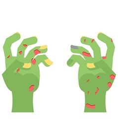 Zombie hands limbs green zombi cadaveric spots on vector