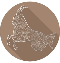 Flat icon of zodiac sign Capricorn vector image