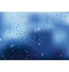 Rain drops in heart shape on a window pain vector