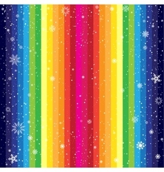 Rainbow striped backdrop and snow vector