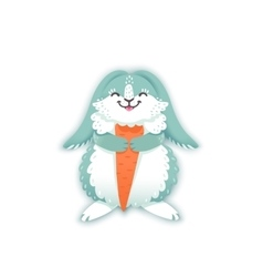 Rabbit cartoon eating a carrot funny bunny cute vector