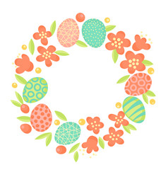 easter wreath of flowers and painted eggs festive vector image