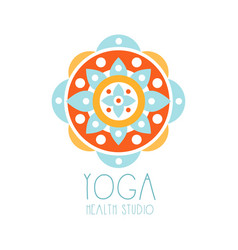 yoga health studio logo symbol health and beauty vector image