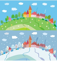 Spring and winter landscape vector