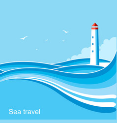 Lighthousesea waves blue background vector