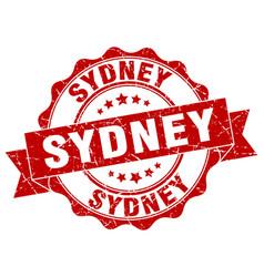 Sydney round ribbon seal vector