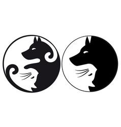 Yin yang symbol cat and dog vector