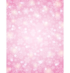 Pink background with snowflakes vector