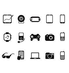 Black mobile devices icon set vector