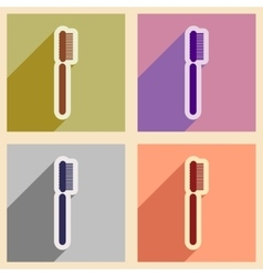 Icons of assembly toothbrush in flat style vector