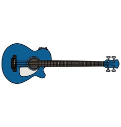 Blue acoustic bass guitar vector