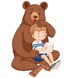 Boy and grizzly bear vector