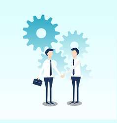 business cooperation with gear flat design vector image