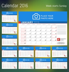 Calendar for 2016 year design print template with vector image