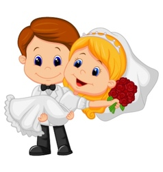 Cartoon kids playing bride and groom vector