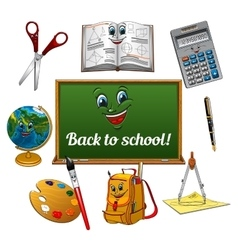 Cheerful cartoon school supplies with blackboard vector
