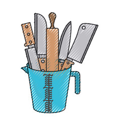 container with knives and rolling pin colored vector image vector image