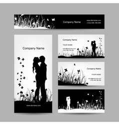 Couple kissing business cards for your design vector image vector image
