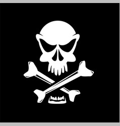 crossbones on black vector image