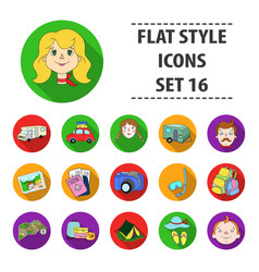 Family holiday set icons in flat style big vector