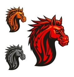 Fierce horse head chess stylized emblems vector