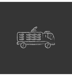 Fire truck drawn in chalk icon vector