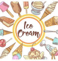 Ice cream and cold desserts hand drawn menu vector