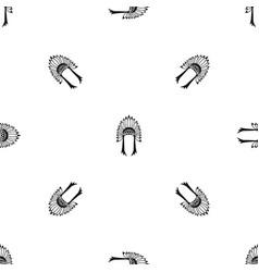 indian headdress pattern seamless black vector image