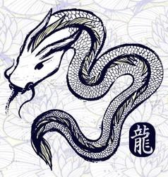 Ink hand drawn dragon snake vector image