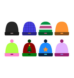 knitted color hat winter set fashion accessory vector image vector image