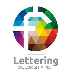 Lettering f rainbow alphabet design vector