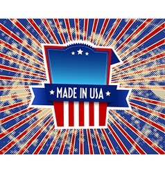 Made in usa label on grunge background vector