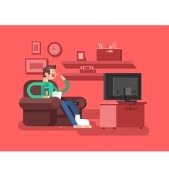 Man watching TV vector image vector image