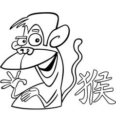 monkey chinese horoscope sign vector image vector image