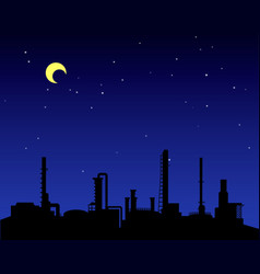 oil refinery industry silhouette at night vector image