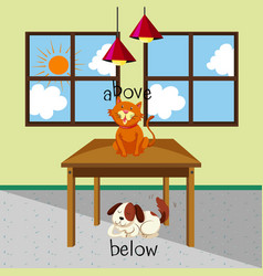 Opposite words for above and below with cat and vector
