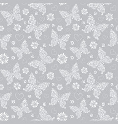 pattern with floral butterflies vector image